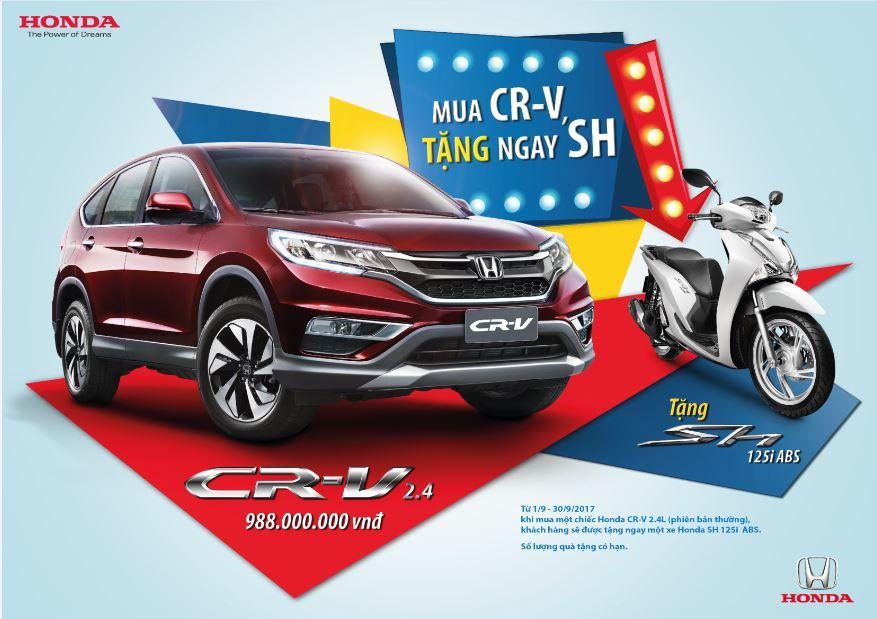 """Honda Việt Nam triển khai chương trình khuyến mại đặc biệt """"Mua CR-V, tặng ngay SH"""""""
